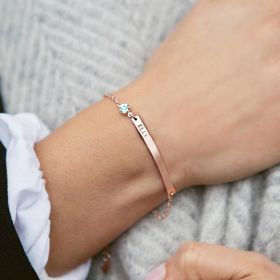 Birthstone and Bar Personalised Bracelet in Rose Gold with Aquamarine Birthstone