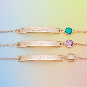 Three Rose Gold Bracelets with Bars and Birthstones Personalised With Names or Messages