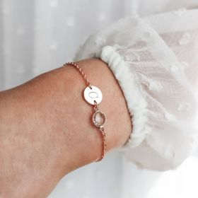 Bridesmaid Initial Disc and Birthstone Personalised Bracelet