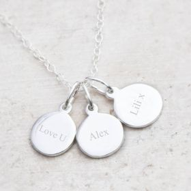 Sterling Silver Disc Charm Necklace Personalised with Special Message, name or Initial