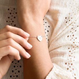 Silver Chloe Initial Heart Personalised Bracelet