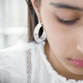 Chunky Statement Hoop Earrings in Silver