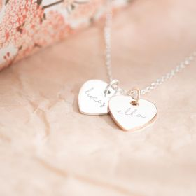 Silver Necklace Chain with Couples Heart Charms personalised with Names