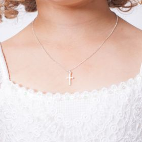 Mini Christening Cross Personalised Sterling Child's Necklace
