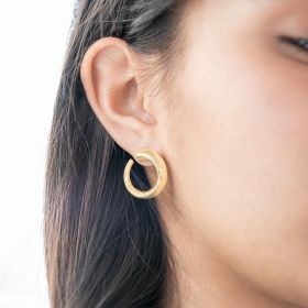 gold plated ring stud earrings