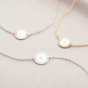 Gold Plated Initial Dotted Disc Bracelet
