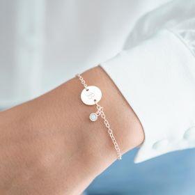 Disc And Micro Birthstone Personalised Bracelet Moonstone
