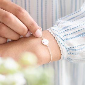 Initial Disc with Embedded Birthstone Bracelet