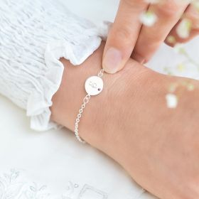 Initial Disc with Embedded Birthstone Bracelet