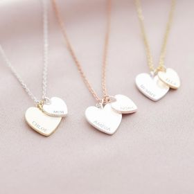 double heart necklace available in mixed metal with personalised engraving