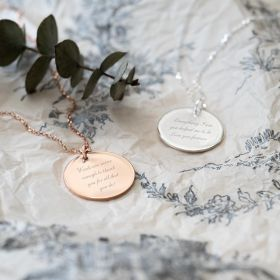 Rose Gold and Silver Large Disc Necklaced Personalised With Messages