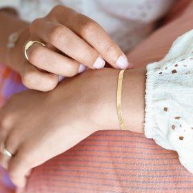 gold herringbone chain bracelet