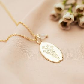 Gold Oval Birth Flower Necklace With Semi Precious Faceted Bead Birthstone