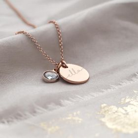 Rose Gold Disc Necklace customised with a name and Birthstone