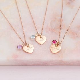 Esme Heart and Birthstone Personalised Name Necklace
