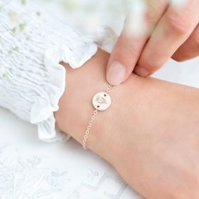 Personalised Disc Etched with Birth flower Design Bracelet