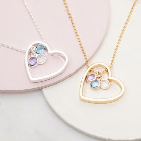 Family birthstone and heart necklace