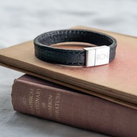 Men's Black Leather Stitched Strap Bracelet Engraved with Contemporary initials