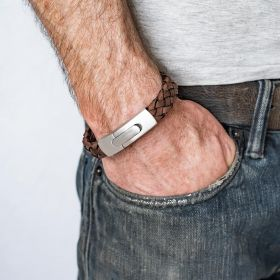 Hidden Message Woven Leather Bracelet