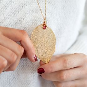 Leaf Dipped in Gold and personalised with Swarovski Crystal Birthstone and Initial Disc Charm