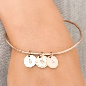 Kaela Personalised Hammered Disc Bangle