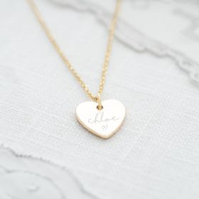 Heart Pendant Necklace in Gold Personalised with name and Illustration