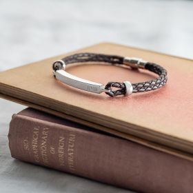 Hunter Men's Leather Personalised Bar Bracelet