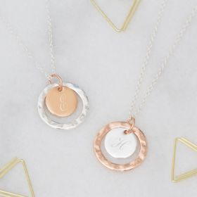 Personalised Halo Initial Disc Necklace