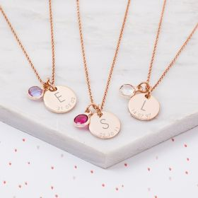 Sterling Silver Initial And Date Birthstone Personalised Necklace
