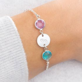 Silver Disc Bracelet with Two Birthstone Charms Personalised with Initial