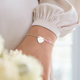 personalised heart bracelet with chosen initial and birthstone charm