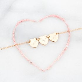 Initial Triple Heart Personalised Bracelet
