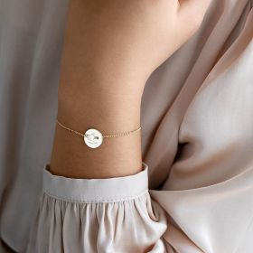 Champagne Gold Jessie Personalised Initial Disc And Pearl Bracelet