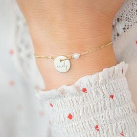Jessie Personalised Initial Disc And Pearl Bracelet