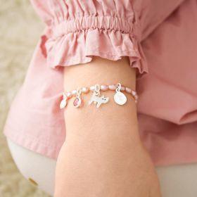 Pearl Charm Bracelet with Animal Charm, Birthstone and Heart Charm