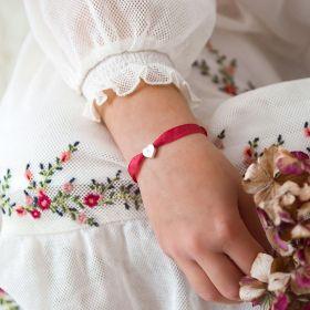 Mini Initial Heart Silk Ribbon Personalised Sterling Silver Child's Bracelet