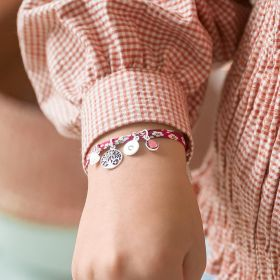 Kids Printed Fabric Bracelet with Sterling Silver Charms
