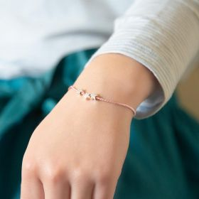 Silk Thread Kid's Bracelet with Triple Sterling Silver Star Charms