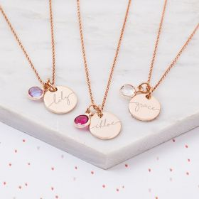 Mini Esme Sterling Silver Disc Child's Personalised Name Necklace