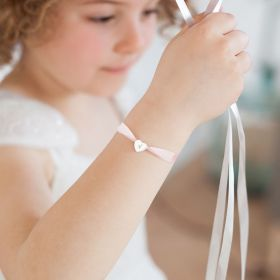 Mini Initial Heart Silk Ribbon Personalised Sterling Silver Child's Bracelet