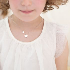 "Kids Silver Necklace chain with Two Star Pendants Personalised with Initial ""S"""