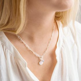 Sterling Silver Large Link Chain Personalised Pearl Initial Disc and Birthstone Necklace