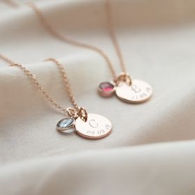 Gold Necklace Chain with Disc Charm Personalised with initial and Date and Birthstone charm