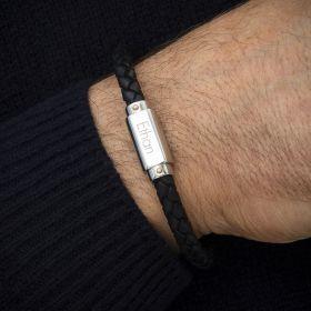 Twain Personalised Men's Leather Bracelet