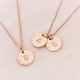 Personalised Hammered Double Initial Disc Necklace