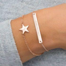 Personalised Skinny Star And Bar Bracelet Set