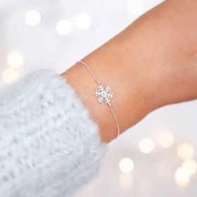 Silver Plated Snowflake Charm Bracelet Personalised with integrated birthstone