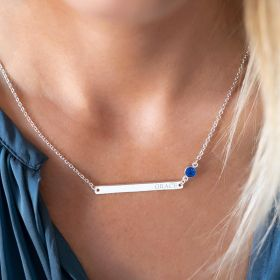 Birthstone And Bar Necklace Personalised with Birthstone and Engraved Name