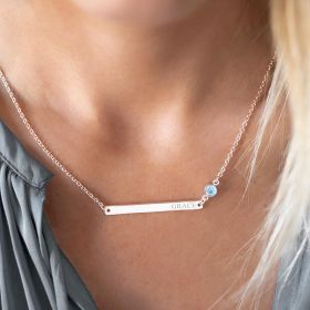 Personalised Name Bar and Birthstone Necklace