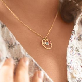 Halo And Triple Birthstone Personalised Necklace